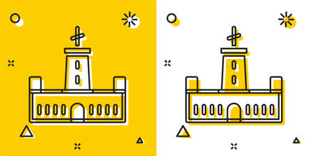 Black Montjuic castle icon isolated on yellow and white background. Barcelona, Spain. Random dynamic shapes. Vector