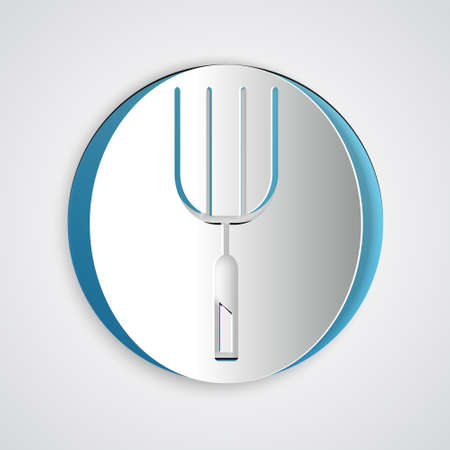 Paper cut Garden pitchfork icon isolated on grey background. Garden fork sign. Tool for horticulture, agriculture, farming. Paper art style. Vector Stock Illustratie
