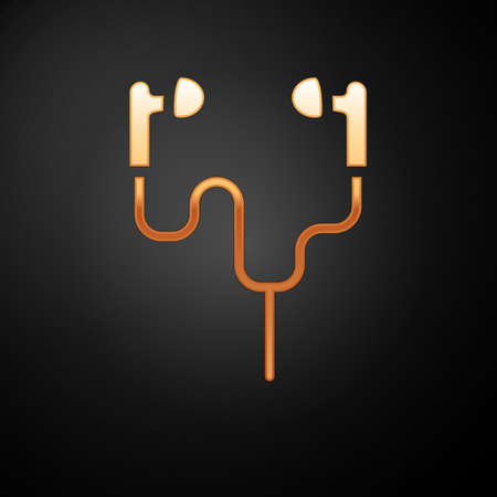 Gold Air headphones icon icon isolated on black background. Holder wireless in case earphones garniture electronic gadget. Vector