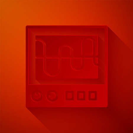 Paper cut Oscilloscope measurement signal wave icon isolated on red background. Paper art style. Vector