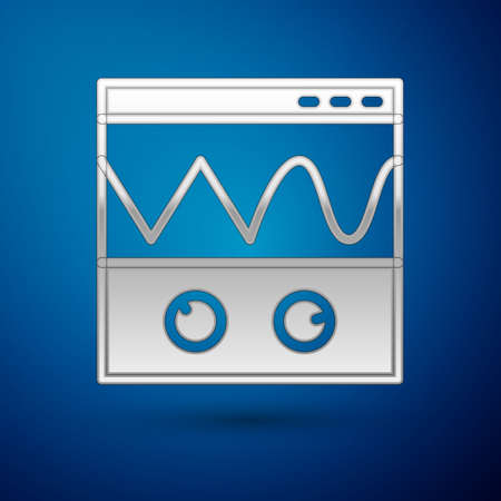 Silver Oscilloscope measurement signal wave icon isolated on blue background. Vector Stock Illustratie