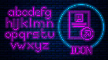 Glowing neon Job promotion icon isolated on brick wall background. Success, achievement, motivation business symbol, growth. Neon light alphabet. Vector