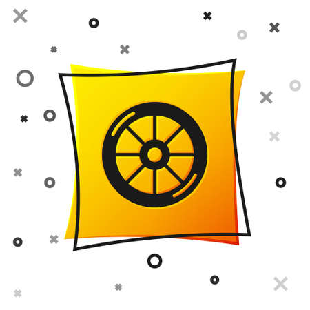 Black Bicycle wheel icon isolated on white background. Bike race. Extreme sport. Sport equipment. Yellow square button. Vector
