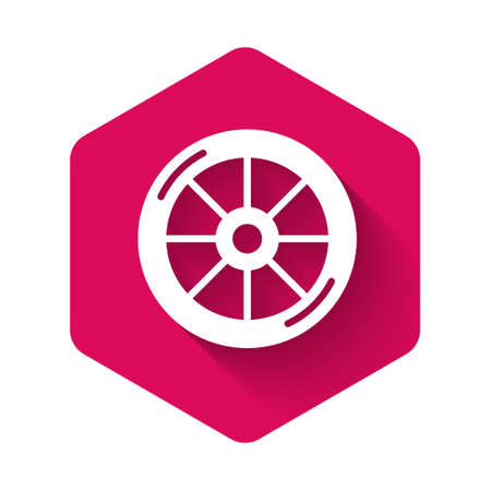 White Bicycle wheel icon isolated with long shadow. Bike race. Extreme sport. Sport equipment. Pink hexagon button. Vector Ilustração