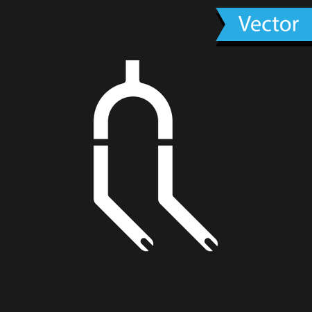 White Bicycle suspension fork icon isolated on black background. Sport transportation spare part steering wheel. Vector Banco de Imagens - 154705589