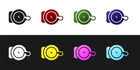 Set Bicycle bell icon isolated on black and white background. Vector Stock Illustratie