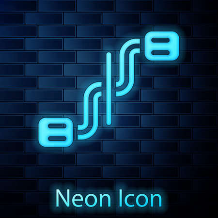 Glowing neon Bicycle pedals icon isolated on brick wall background. Vector