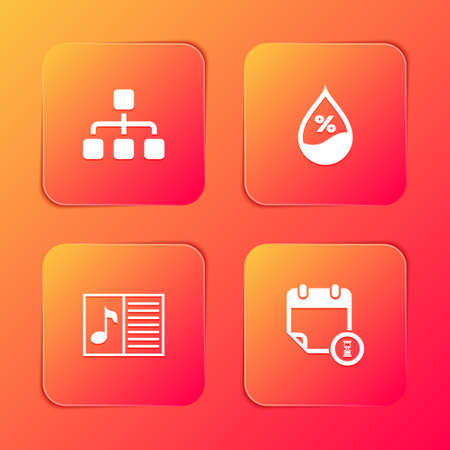 Set Hierarchy organogram chart, Water drop percentage, Music book with note and Calendar and clock icon. Vector