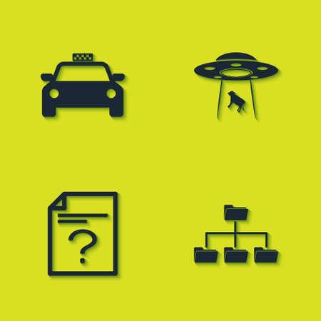 Set Taxi car, Folder tree, Unknown document and UFO abducts cow icon. Vector Illusztráció