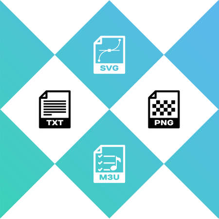 Set TXT file document, M3U, SVG and PNG icon. Vector