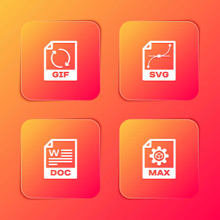 Set GIF file document, SVG, DOC and MAX icon. Vector