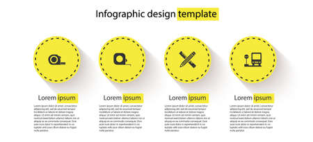 Set Roulette construction, , Crossed ruler and pencil and Bus stop. Business infographic template. Vector