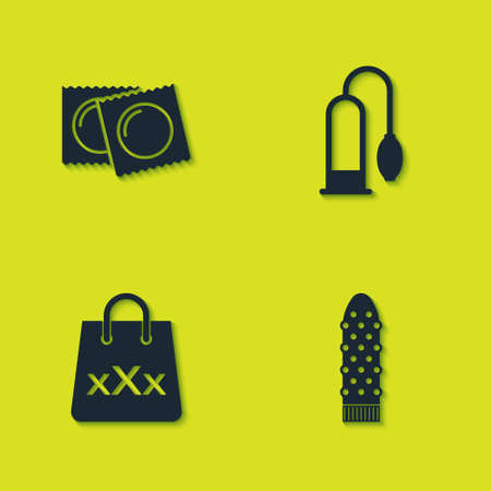 Set Condoms in package, Dildo vibrator, Shopping bag with triple X and Penis pump icon. Vector