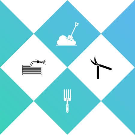 Set Garden hose or fire hose, fork, Shovel in the ground and Gardening handmade scissor icon. Vector Stock Illustratie