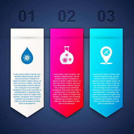Set Dirty water drop, Test tube with virus and Location service. Business infographic template. Vector