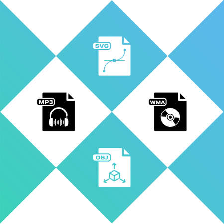 Set MP3 file document, OBJ, SVG and WMA icon. Vector