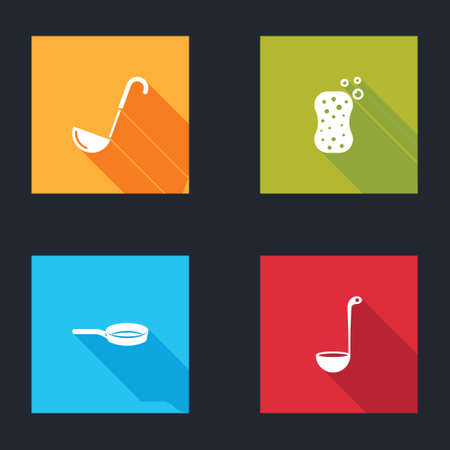 Set Kitchen ladle, Sponge with bubbles, Frying pan and icon. Vector