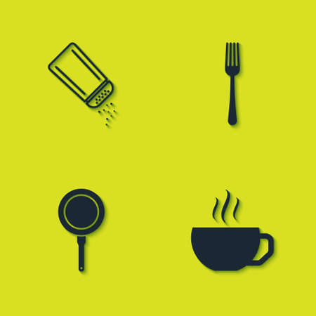 Set Salt and pepper, Coffee cup, Frying pan and Fork icon. Vector