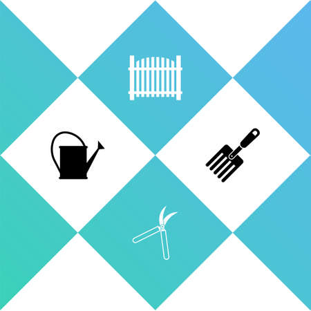 Set Watering can, Gardening handmade scissor, fence and fork icon. Vector