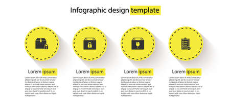 Set Locked package, , Delivery box with fragile content and Verification of delivery list. Business infographic template. Vector
