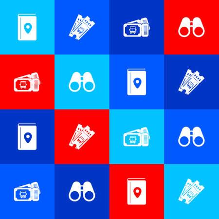 Set Cover book travel guide, Bus ticket, and Binoculars icon. Vector Ilustração