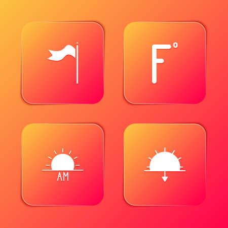 Set Meteorology windsock wind vane, Fahrenheit, Sunrise and Sunset icon. Vector