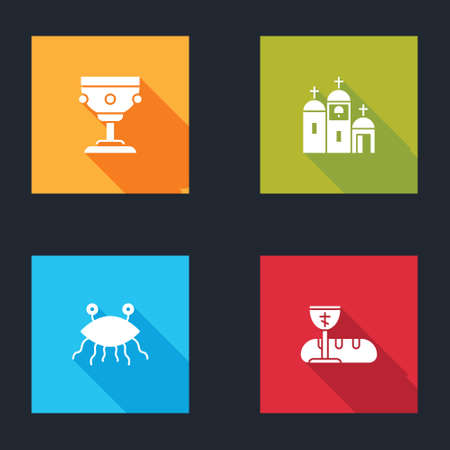 Set Christian chalice, Church building, Pastafarianism and First communion symbols icon. Vector Vectores