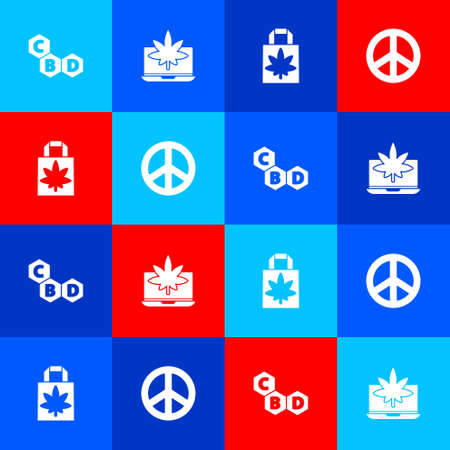 Set Cannabis molecule, Laptop and marijuana or cannabis, Shopping paper bag of and Peace icon. Vector