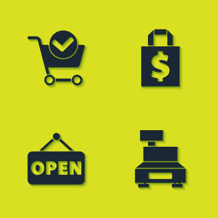 Set Shopping cart with check mark, Cash register machine, Hanging sign Open and Shoping bag and dollar icon. Vector