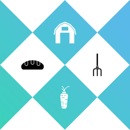 Set Bread loaf, Carrot, Farm house and Garden pitchfork icon. Vector Stock Illustratie