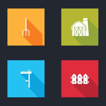 Set Garden pitchfork, Farm house, Scythe and fence wooden icon. Vector