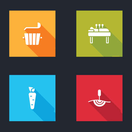 Set Sauna bucket and ladle, Acupuncture therapy, Carrot and icon. Vector