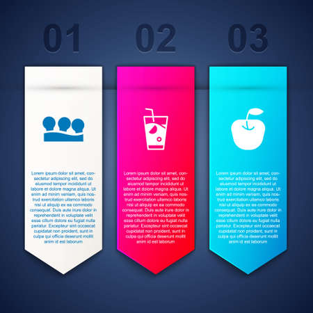 Set Vacuum cans, Fresh smoothie and Apple. Business infographic template. Vector Vectores