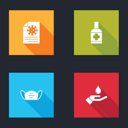 Set Clipboard with blood test results, Liquid antibacterial soap, Medical protective mask and Washing hands icon. Vector