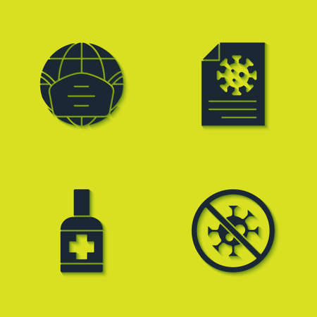 Set Earth with medical mask, Stop virus, Liquid antibacterial soap and Clipboard blood test results icon. Vector Illustration