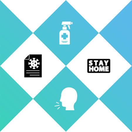 Set Clipboard with blood test results, Man coughing, Liquid antibacterial soap and Stay home icon. Vector