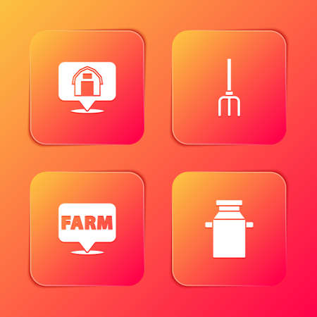 Set Location farm house, Garden pitchfork, and Can container milk icon. Vector Stock Illustratie