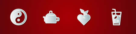 Set Yin Yang, Kettle with handle, Heart and Fresh smoothie icon. Vector