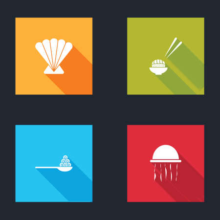 Set Scallop sea shell, Sushi, Caviar on spoon and Jellyfish icon. Vector