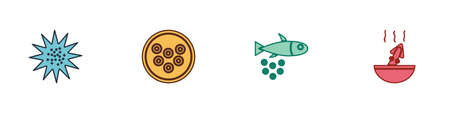 Set Sea urchin, Caviar on plate, Fish with caviar and Soup octopus icon. Vector