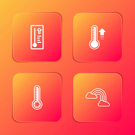 Set Meteorology thermometer, , and Rainbow with clouds icon. Vector Çizim
