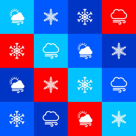 Set Windy weather, Snowflake, and icon. Vector