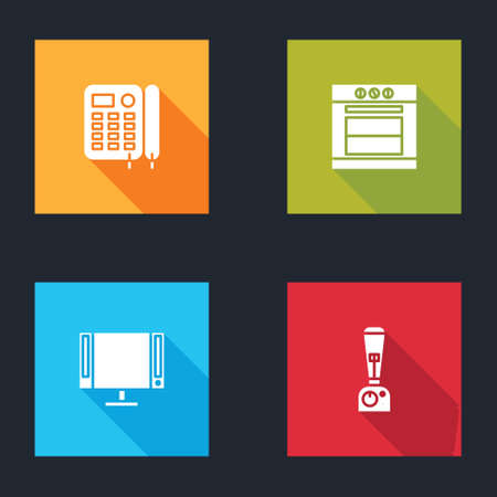 Set Telephone, Oven, Smart Tv and Blender icon. Vector