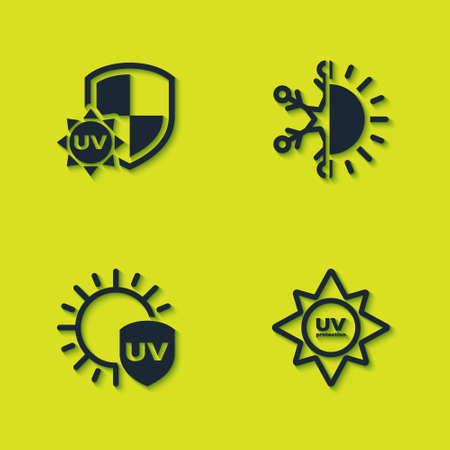 Set UV protection, , and Sun and snowflake icon. Vector