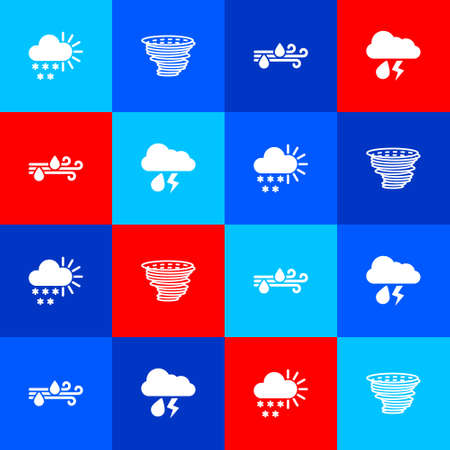 Set Cloudy with snow, Tornado, Wind and rain and lightning icon. Vector Çizim