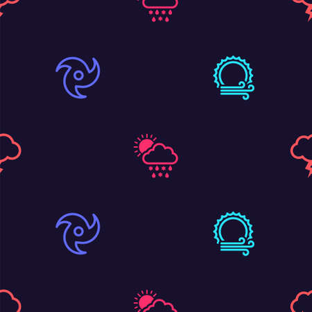 Set Wind and sun, Tornado, Cloud with snow, rain, and Storm on seamless pattern. Vector