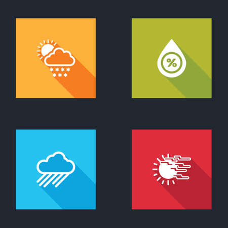 Set Cloud with snow and sun, Water drop percentage, rain and Fog icon. Vector