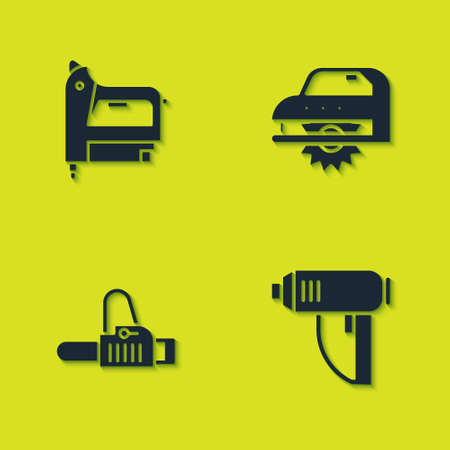 Set Electric construction stapler, industrial dryer, Chainsaw and circular icon. Vector