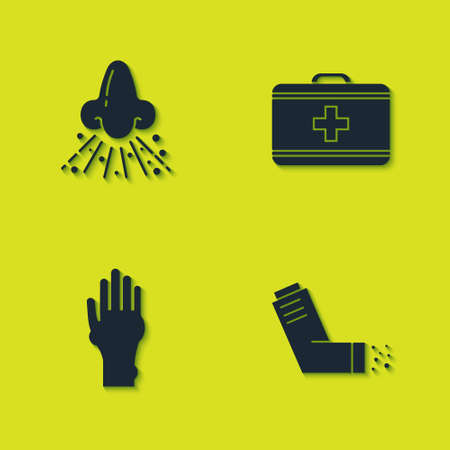 Set Runny nose, Inhaler, Hand with psoriasis or eczema and First aid kit icon. Vector Vectores
