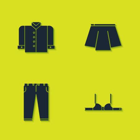 Set T-shirt, Bra, Pants and Skirt icon. Vector